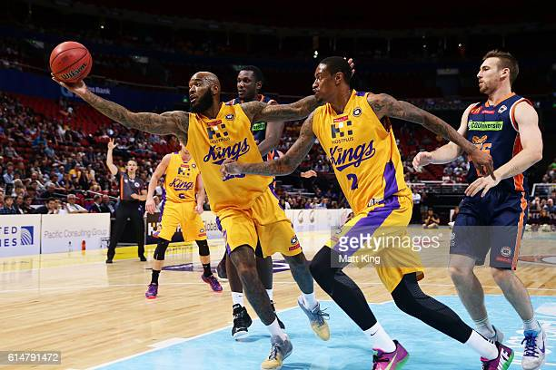 Josh Powell of the Kings rebounds during the round two NBL match between the Sydney Kings and the Cairns Taipans at Qudos Bank Arena on October 15...