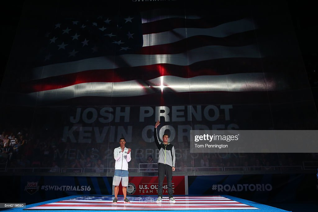 Josh Prenot and Kevin Cordes of the United States participate in the medal ceremony for the Men's 200 Meter Breaststroke during Day Five of the 2016...