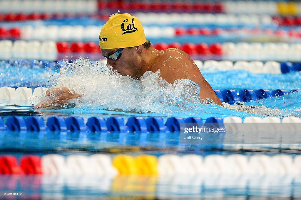 Josh Prenot competes in a preliminary heat of the Men's 200 Meter Breaststroke during Day 4 of the 2016 U.S. Olympic Team Swimming Trials at CenturyLink Center on June 29, 2016 in Omaha, Nebraska.
