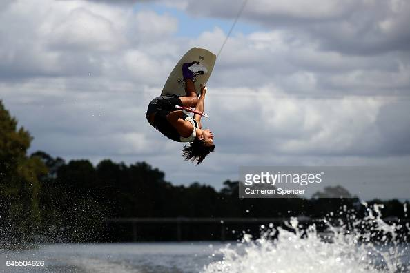 Josh Quartermaine competes in the NSW Wakeboarding State Titles at Governor Phillip Park in Windsor on February 26 2017 in Sydney Australia