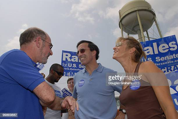 Josh Rale and his wife Debby greet voters during the 30th annual J Millard Tawes Crab and Clam Bake in Crisfield Maryland