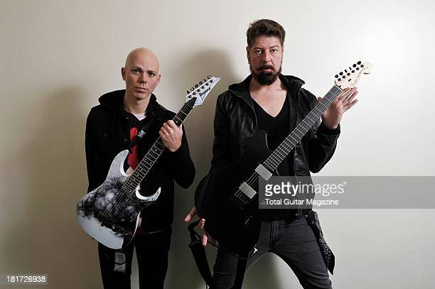 Josh Rand and Jim Root of American alternative metal band Stone Sour photographed during a portrait shoot for Total Guitar Magazine December 14 2012