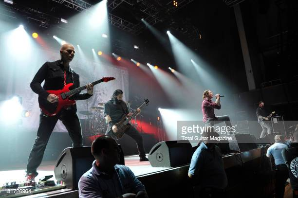 Josh Rand Johnny Chow Corey Taylor and Jim Root of American alternative metal band Stone Sour performing live onstage at the Wolverhampton Civic Hall...
