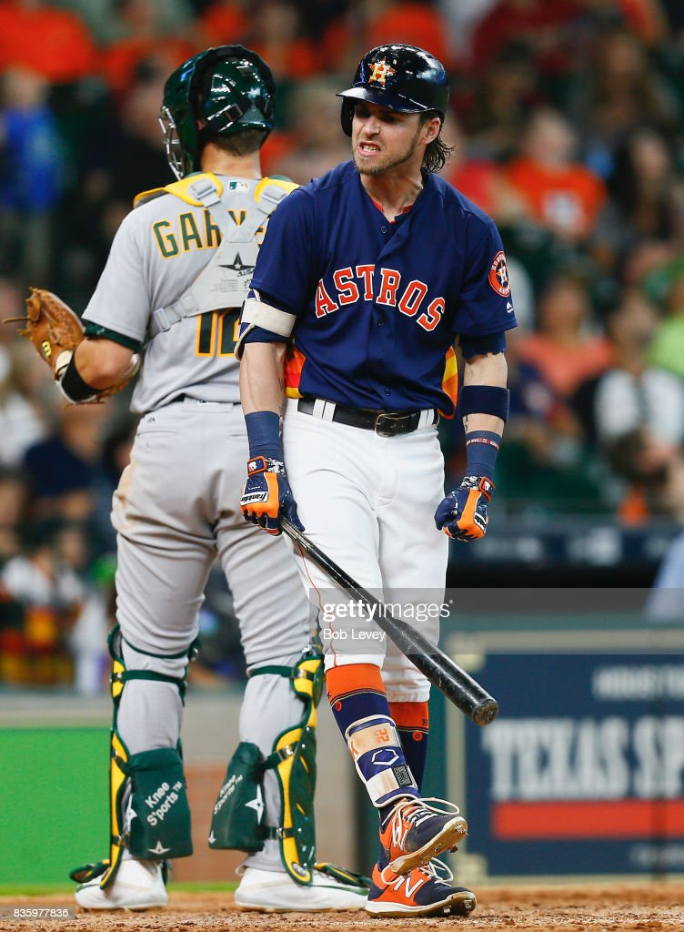 Josh Reddick #22 of the Houston Astros strikes out in the eighth inning against the Oakland Athletics at Minute Maid Park on August 20, 2017 in Houston, Texas.