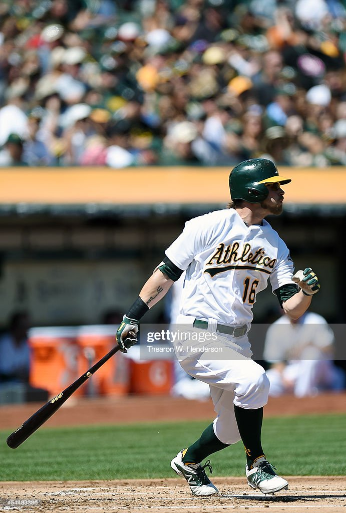 <a gi-track='captionPersonalityLinkClicked' href=/galleries/search?phrase=Josh+Reddick&family=editorial&specificpeople=5746348 ng-click='$event.stopPropagation()'>Josh Reddick</a> #16 of the Oakland Athletics hits a double against the Seattle Mariners in the top of the first inning at O.co Coliseum on September 1, 2014 in Oakland, California.