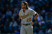 Josh Reddick of the Oakland Athletics looks on after striking out against the Seattle Mariners at Safeco Field on October 4 2015 in Seattle Washington