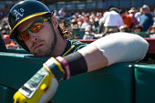 Josh Reddick of the Oakland Athletics looks on before a spring training game against the San Francisco Giants at Scottsdale Stadium on March 4 2015...