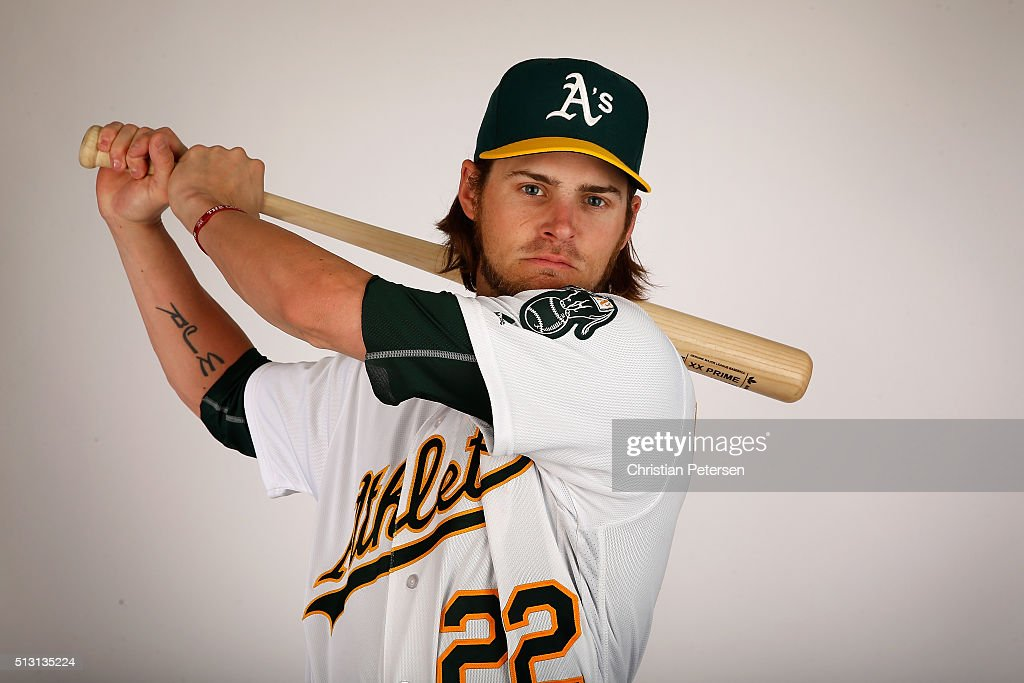 <a gi-track='captionPersonalityLinkClicked' href=/galleries/search?phrase=Josh+Reddick&family=editorial&specificpeople=5746348 ng-click='$event.stopPropagation()'>Josh Reddick</a> #22 of the Oakland Athletics poses for a portrait during the spring training photo day at HoHoKam Stadium on February 29, 2016 in Mesa, Arizona.
