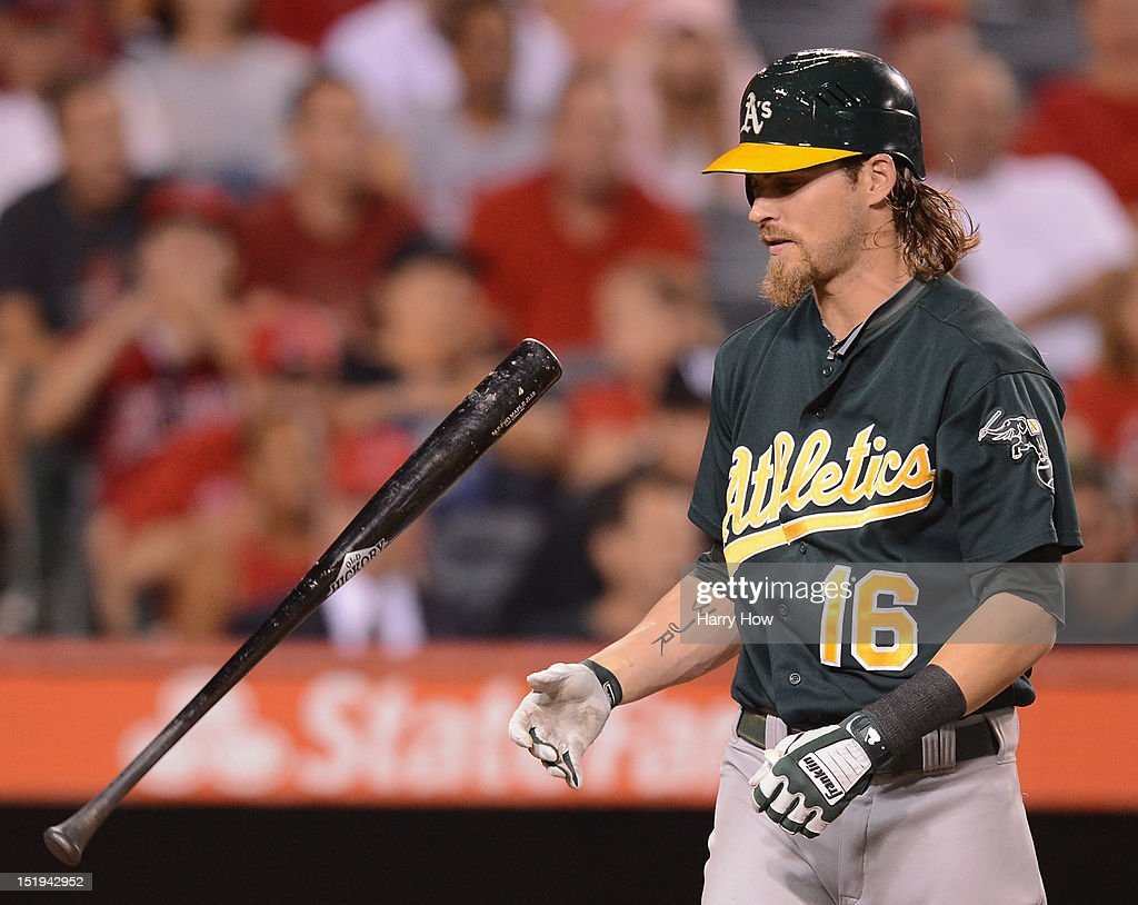 <a gi-track='captionPersonalityLinkClicked' href=/galleries/search?phrase=Josh+Reddick&family=editorial&specificpeople=5746348 ng-click='$event.stopPropagation()'>Josh Reddick</a> #16 of the Oakland Athletics reacts to his strikeout against the Los Angeles Angels during the fifth inning at Angel Stadium of Anaheim on September 12, 2012 in Anaheim, California.