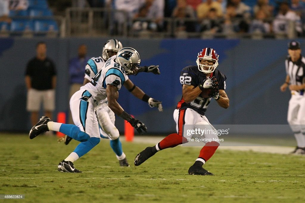 Josh Reed of the Buffalo Bills runs with the ball during a game against the Carolina Panthers on August 12 2006 at the Bank of America Stadium in...