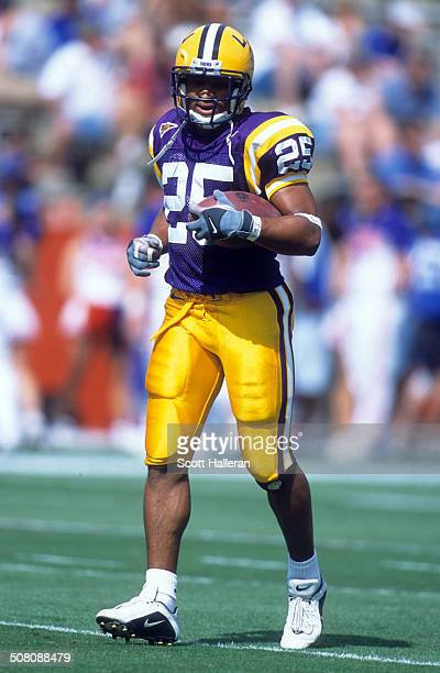 Josh Reed of the LSU Tigers runs on the field during the game against the Florida Gators on October 7 2000 at Ben Hill Griffin Stadium in Gainesville...