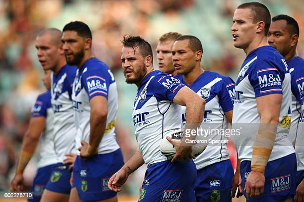 Josh Reynolds of the Bulldogs and team mates look on during the NRL Elimination Final match between the Penrith Panthers and the Canterbury Bulldogs...