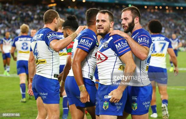 Josh Reynolds of the Bulldogs celebrates a try by Josh Morris during the round seven NRL match between the Canterbury Bulldogs and the South Sydney...