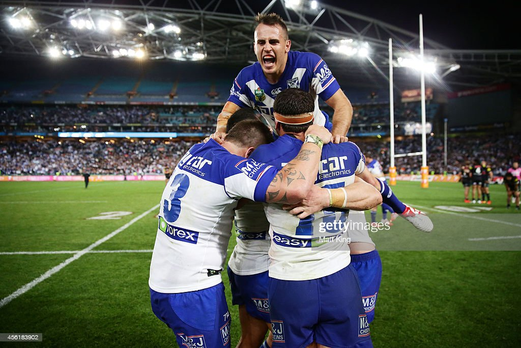 Josh Reynolds of the Bulldogs celebrates victory with team mates at the end of the NRL Second Preliminary Final match between the Penrith Panthers...