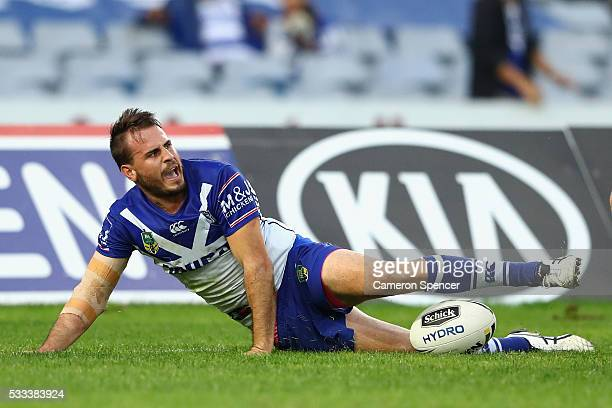 Josh Reynolds of the Bulldogs crosses the line for a try during the round 11 NRL match between the Canterbury Bulldogs and the Sydney Roosters at ANZ...