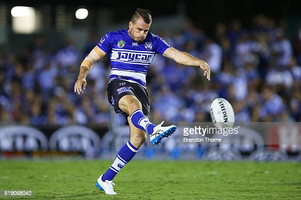 Josh Reynolds of the Bulldogs kicks during the round five NRL match between the Canterbury Bulldogs and the Canberra Raiders at Belmore Sports Ground...