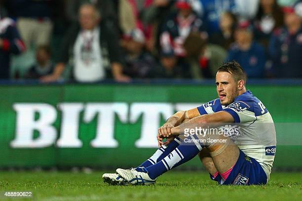 Josh Reynolds of the Bulldogs looks dejected after losing the First NRL Semi Final match between the Sydney Roosters and the Canterbury Bulldogs at...