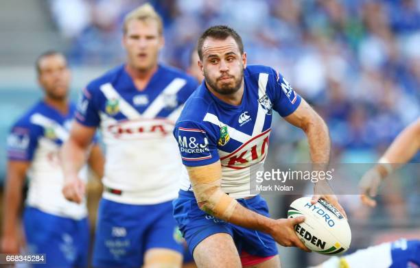 Josh Reynolds of the Bulldogs passes during the round seven NRL match between the Canterbury Bulldogs and the South Sydney Rabbitohs at ANZ Stadium...