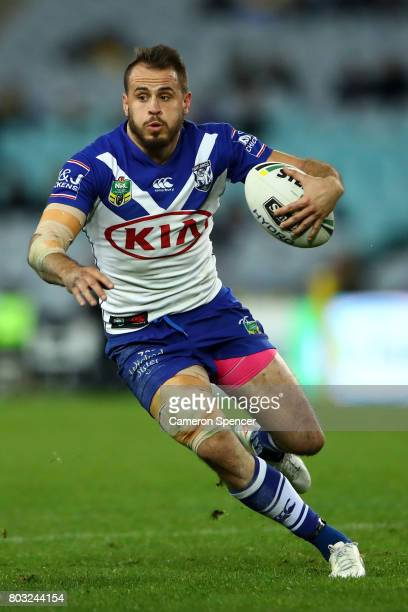 Josh Reynolds of the Bulldogs runs the ball during the round 17 NRL match between the Parramatta Eels and the Canterbury Bulldogs at ANZ Stadium on...
