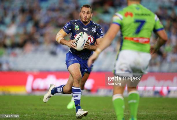 Josh Reynolds of the Bulldogs runs with the ball during the round nine NRL match between the Canterbury Bulldogs and the Canberra Raiders at ANZ...
