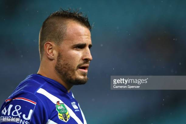 Josh Reynolds of the Bulldogs warms up prior to the round 22 NRL match between the Canterbury Bulldogs and the Parramatta Eels at ANZ Stadium on...