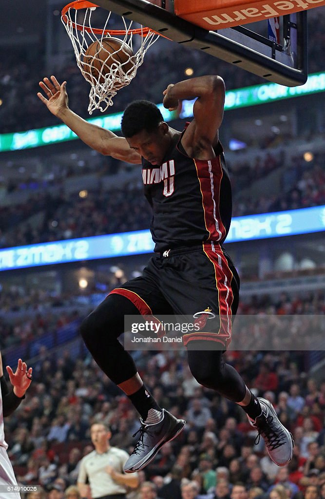 Josh Richardson #0 of the Miami Heat dunks against the Chicago Bulls at the United Center on March 11, 2016 in Chicago, Illinois.