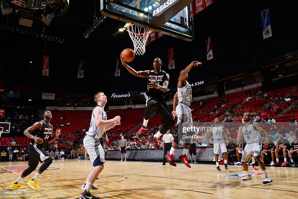 <a gi-track='captionPersonalityLinkClicked' href=/galleries/search?phrase=Josh+Richardson+-+Basketballer&family=editorial&specificpeople=14718165 ng-click='$event.stopPropagation()'>Josh Richardson</a> #14 of the Miami Heat goes up for a shot against the Utah Jazz on July 11, 2015 at the Cox Pavilion in Las Vegas, Nevada.
