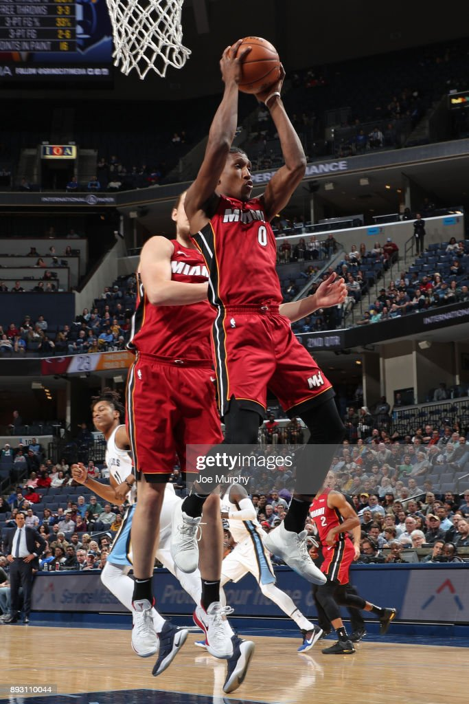 Josh Richardson #0 of the Miami Heat grabs a rebound against the Memphis Grizzlies on December 11, 2017 at FedExForum in Memphis, Tennessee.