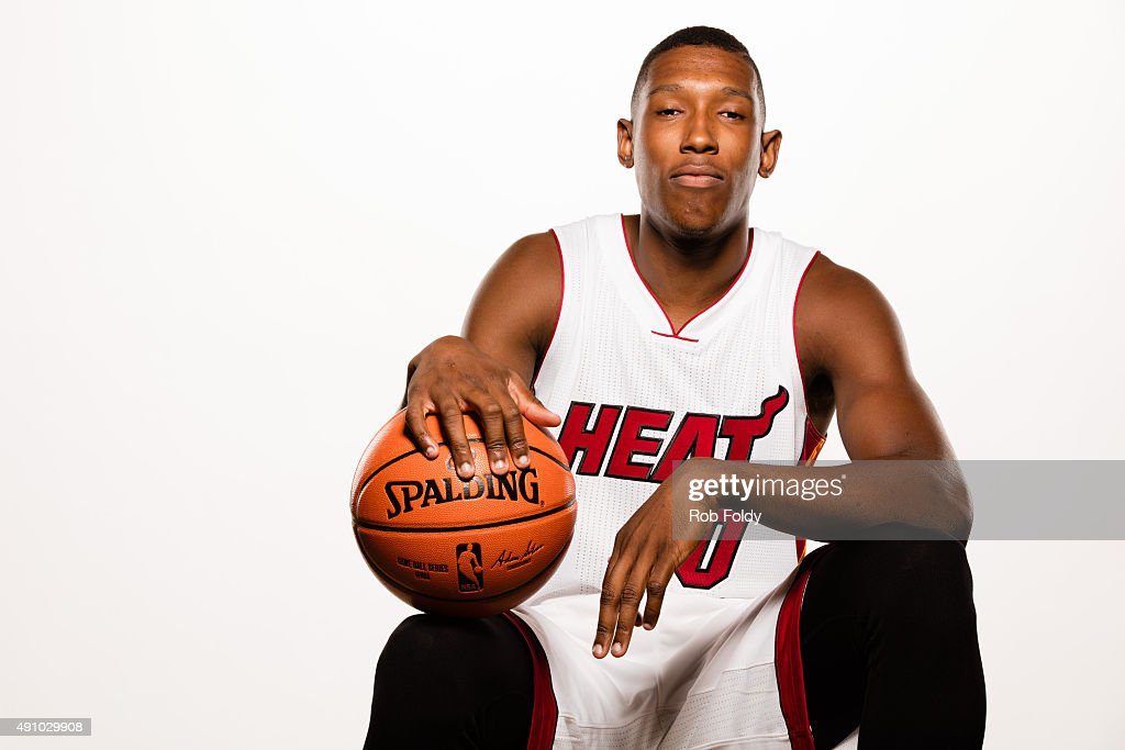 Josh Richardson #0 of the Miami Heat poses for a portrait during Miami Heat media day at AmericanAirlines Arena on September 28, 2015 in Miami, Florida.