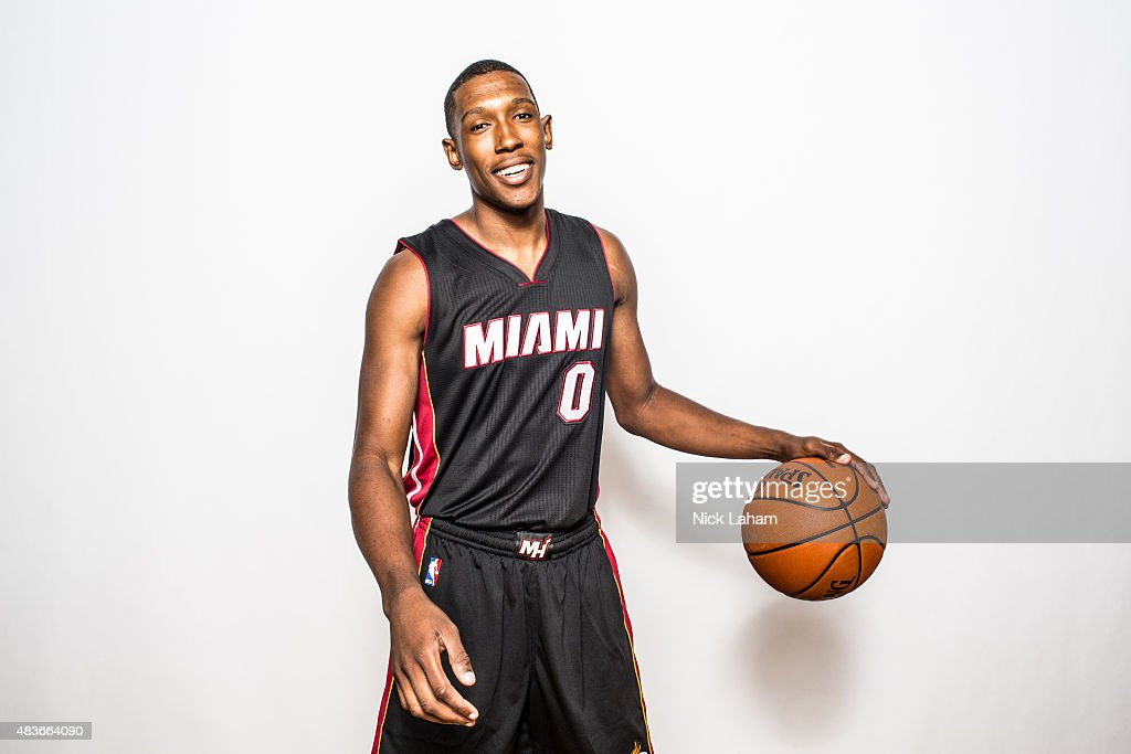 <a gi-track='captionPersonalityLinkClicked' href=/galleries/search?phrase=Josh+Richardson+-+Basketballer&family=editorial&specificpeople=14718165 ng-click='$event.stopPropagation()'>Josh Richardson</a> #0 of the Miami Heat poses for a portrait during the 2015 NBA rookie photo shoot on August 8, 2015 at the Madison Square Garden Training Facility in Tarrytown, New York.