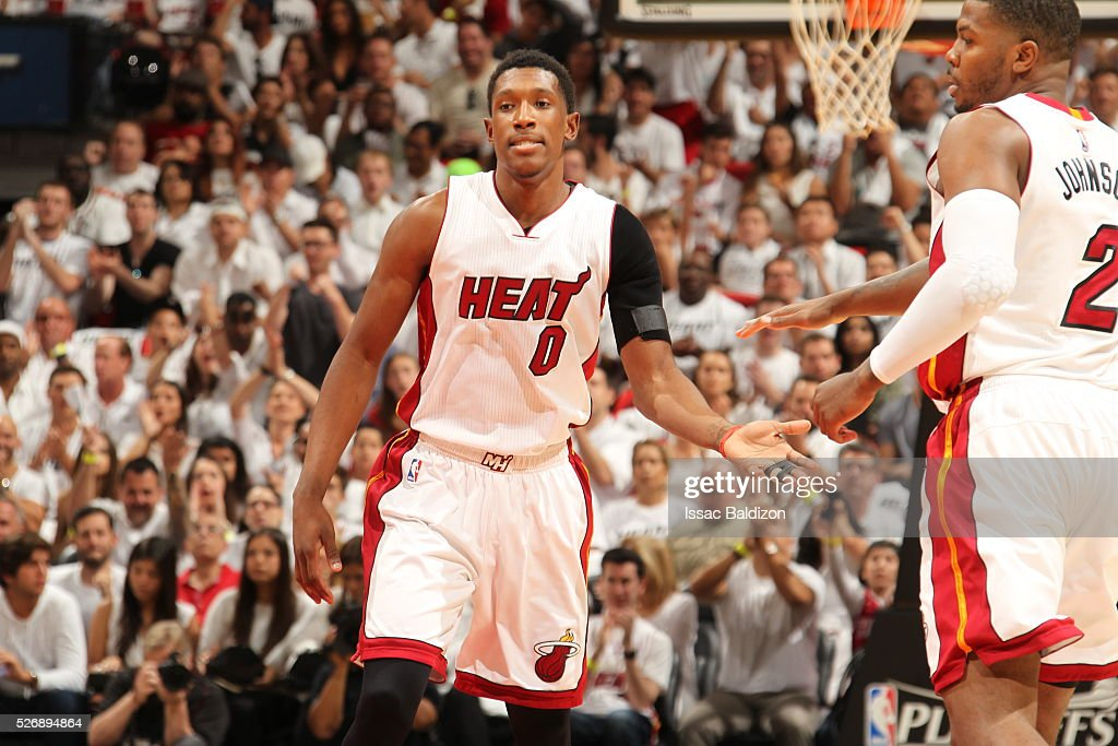 <a gi-track='captionPersonalityLinkClicked' href=/galleries/search?phrase=Josh+Richardson+-+Basketball+Player&family=editorial&specificpeople=14718165 ng-click='$event.stopPropagation()'>Josh Richardson</a> #0 of the Miami Heat shakes hands with his teammates during the game against the Charlotte Hornets in Game Seven of the Eastern Conference Quarterfinals during the 2016 NBA Playoffs on May 1, 2016 at American Airlines Arena in Miami, Florida.
