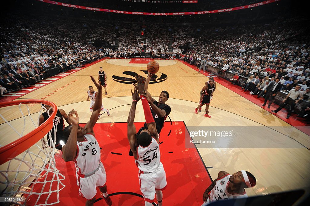 Josh Richardson #0 of the Miami Heat shoots the ball against the Toronto Raptors in Game Two of the Eastern Conference Semifinals on May 5, 2016 at the Air Canada Centre in Toronto, Ontario, Canada.
