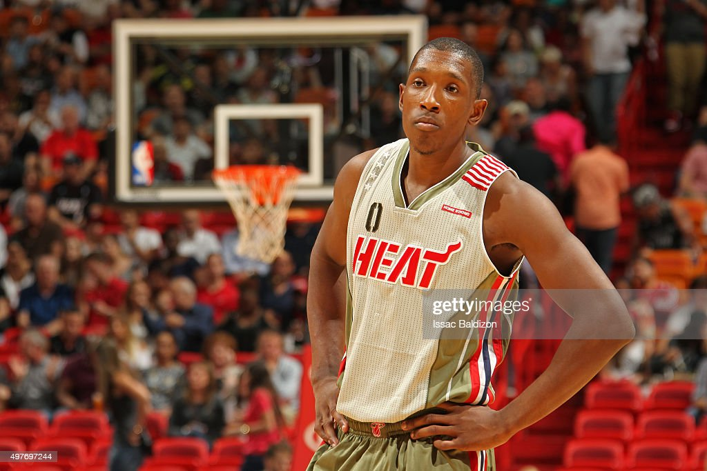 <a gi-track='captionPersonalityLinkClicked' href=/galleries/search?phrase=Josh+Richardson+-+Basketballer&family=editorial&specificpeople=14718165 ng-click='$event.stopPropagation()'>Josh Richardson</a> #0 of the Miami Heat stands on the court against the Utah Jazz on November 12, 2015 at American Airlines Arena in Miami, Florida.