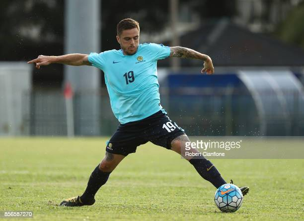 Josh Risdon of Australia controls the ball during an Australia Socceroos training session at Hang Tuah Stadium on October 2 2017 in Malacca Malaysia