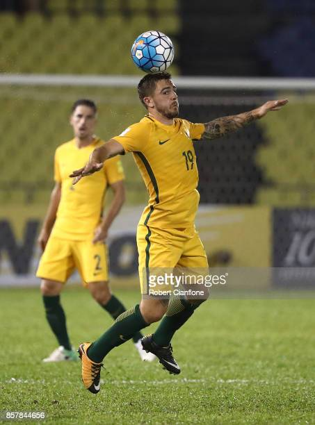 Josh Risdon of Australia heads the ball during the 2018 FIFA World Cup Asian Playoff match between Syria and the Australia Socceroos at Hang Jebat...