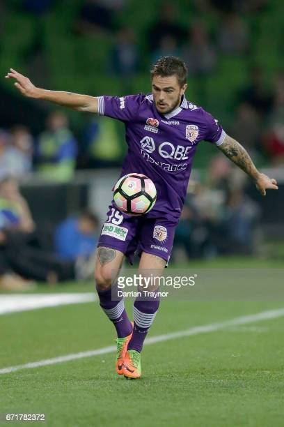 Josh Risdon of Perth Glory contols the ball during the ALeague Elimination Final match between Melbourne City FC and the Perth Glory at AAMI Park on...