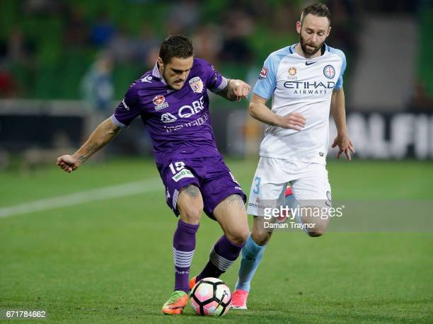 Josh Risdon of Perth Glory kicks the ball during the ALeague Elimination Final match between Melbourne City FC and the Perth Glory at AAMI Park on...