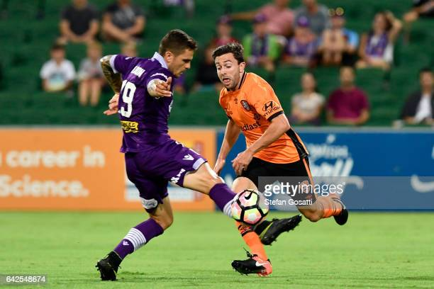 Josh Risdon of the Glory attacks the ball during the round 20 ALeague match between Perth Glory and Brisbane Roar at nib Stadium on February 18 2017...