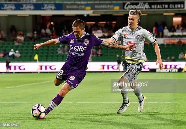Josh Risdon of the Glory competes for the ball during the round 14 ALeague match between the Perth Glory and the Wellington Phoenix at nib Stadium on...