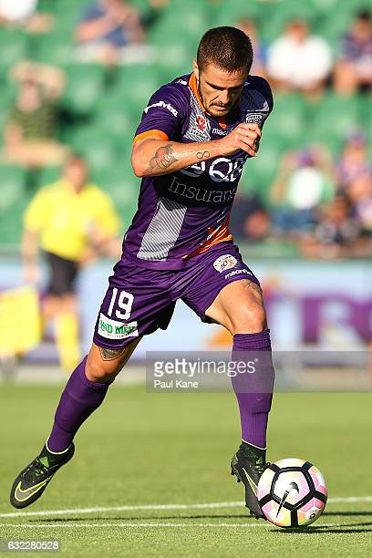 Josh Risdon of the Glory controls the ball during the round 16 ALeague match between Perth Glory and Melbourne Victory at nib Stadium on January 21...