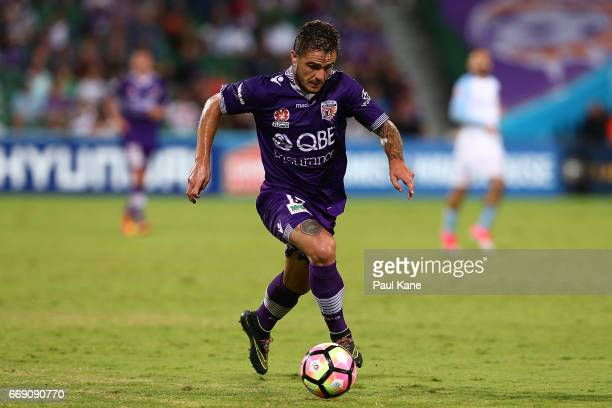 Josh Risdon of the Glory controls the ball during the round 27 ALeague match between the Perth Glory and Melbourne City FC at nib Stadium on April 16...