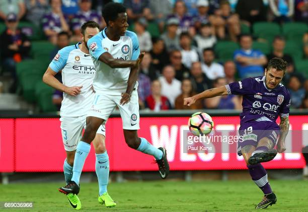 Josh Risdon of the Glory crosses the ball during the round 27 ALeague match between the Perth Glory and Melbourne City FC at nib Stadium on April 16...
