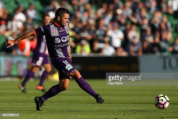 Josh Risdon of the Glory passes the ball during the round 16 ALeague match between Perth Glory and Melbourne Victory at nib Stadium on January 21...