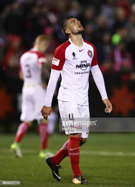 Josh Risdon of the Wanderers looks dejected after the goal to James Andrew of Blacktown City in extra time during the FFA Cup Quarterfinal match...