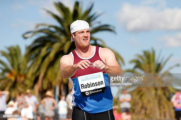 Josh Robinson looks on after throwing in the javelin final during the 92nd Australian Athletics Championships on April 6 2014 in Melbourne Australia