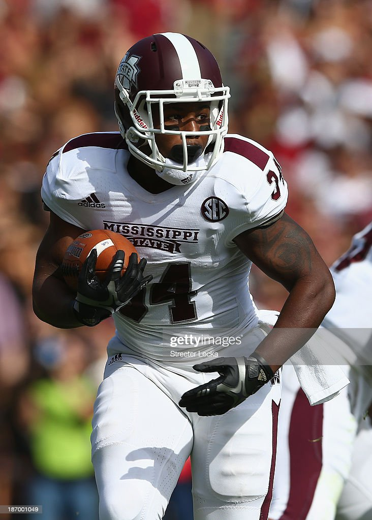 Josh Robinson #34 of the Mississippi State Bulldogs during their game at Williams-Brice Stadium on November 2, 2013 in Columbia, South Carolina.