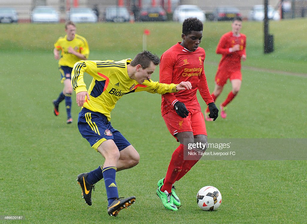 Josh Robson of Sunderland and Seyi Ojo of Liverpool in action during the Barclays Premier League Under 18 fixture between Liverpool and Sunderland at the Liverpool FC Academy on February 15 in Kirkby, England.