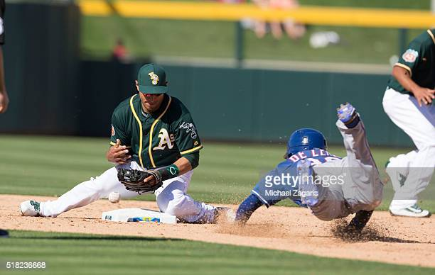 Josh Rodriguez of the Oakland Athletics digs for the ball as Delino DeShields of the Texas Rangers slides safely into second during a spring training...