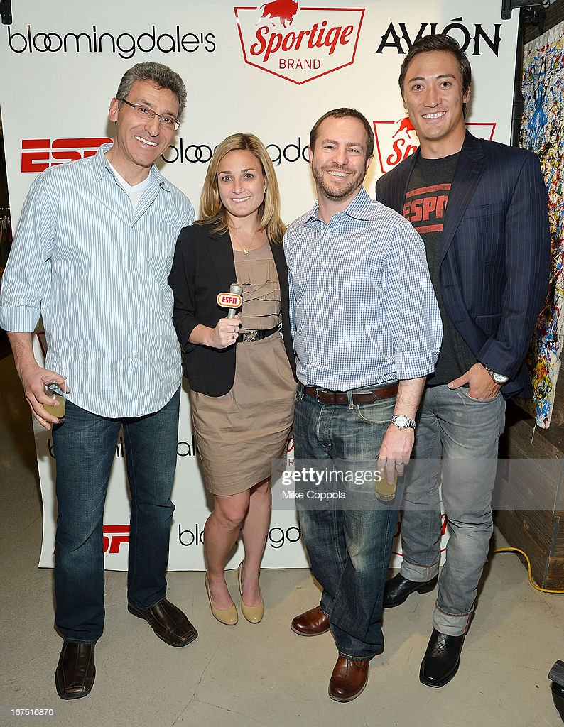 Josh Romm, Brittany Boehm, Matt Novoselsky, Autin Chow pose for a picture as Sportiqe and ESPN host a NBA Playoff Party at Bloomingdale's 59th Street Store on April 25, 2013 in New York City.