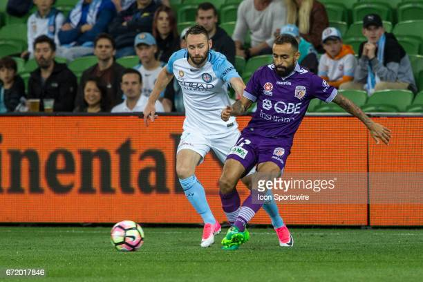 Josh Rose of Melbourne City and Diego Castro of Perth Glory contest the ball during the Elimination Round of the Hyundai ALeague Finals Series...